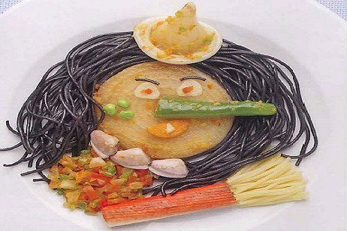 Sorcière en spaghettis à l'encre