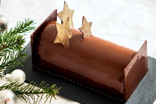 Bûche végan au chocolat insert à la poire