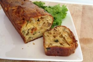 Cake aux fèves et courgettes